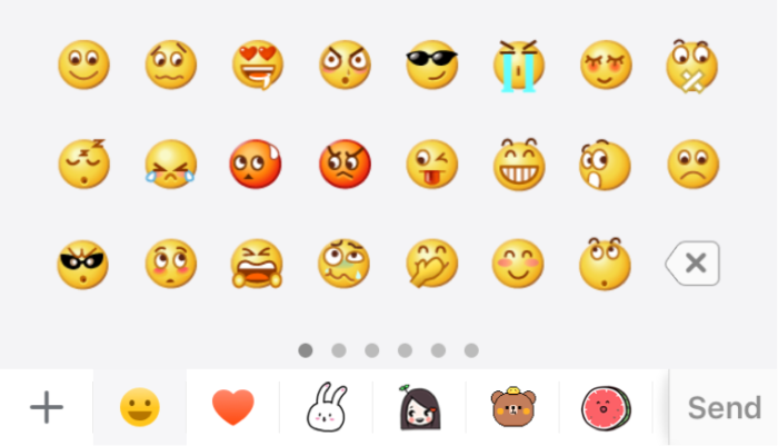 The WeChat emoji keyboard. Besides the hundred-or-so official emojis ...