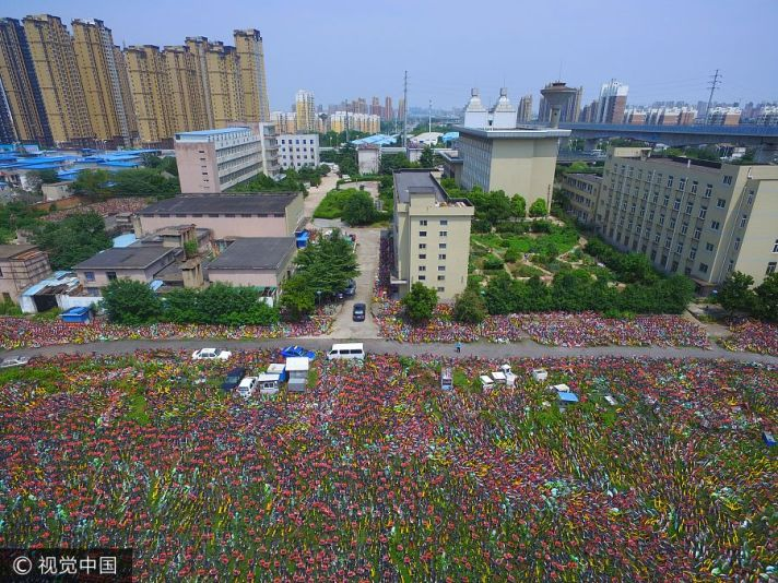 Aerial photo of abandoned shared bikes in a Chinese city